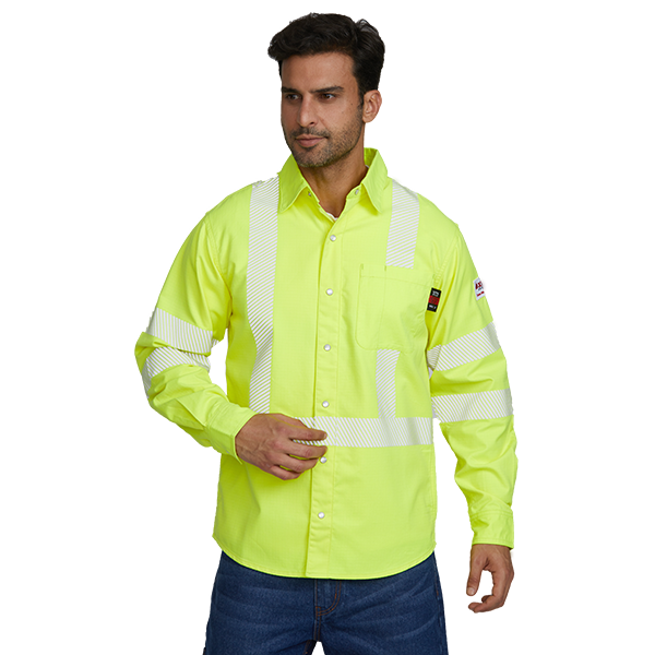 Hi Vis Yellow Button Down FRC Work Shirt